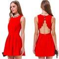 Das Mulheres do vintage Vestidos Sem Mangas Sólidos Casual Vestido de Festa Mulheres vestidos 2014 vestido de festa vestido da senhora do sexo feminino roupas de primavera
