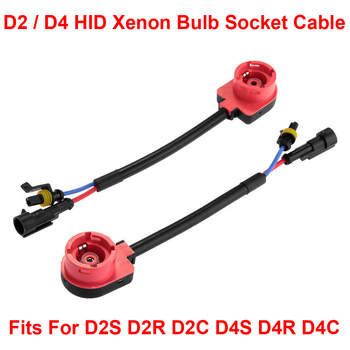 2PCS D2S D2R D2C D4S D4R D4C OEM HID Xenon Headlight Bulbs Ballasts Wire Harness Cable Adapter Holder Wiring Socket Plug N Play image
