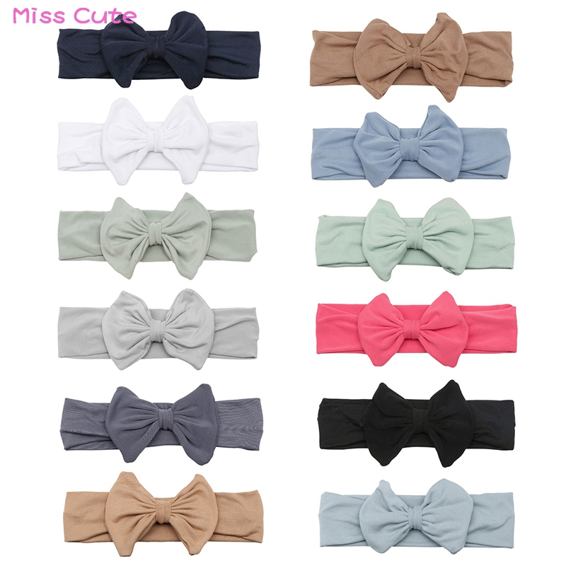 Newborn Headband Cotton Solid Big Bow For Girl Baby Turban Knot Headband Infant Head Band Soft Spandex Stretchy Headwarp Prop