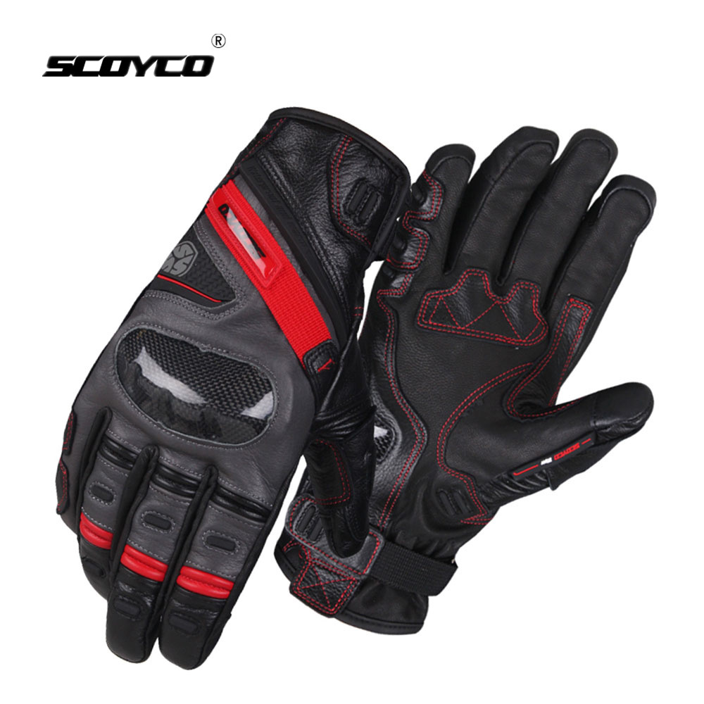 SCOYCO Touch Screen Motorcycle Gloves Carbon Fibre Winter Leather Full Finger Racing gloves Windproof Waterproof Moto Gloves scoyco a012 xl sporty full finger motorcycle gloves black red pair size xl