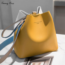 Tonny Kizz panelled bags for women shoulder handbag leather female crossbody large capacity ladies hand yellow color