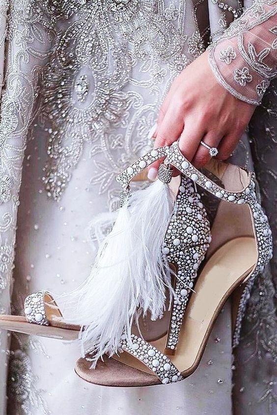 Cooperative Yx Girl Sexy Women Sandals Pumps Summer Rhinestone Zipper Feather High Heel Apricot Women Wedding Pumps Shoes Popular We Have Won Praise From Customers