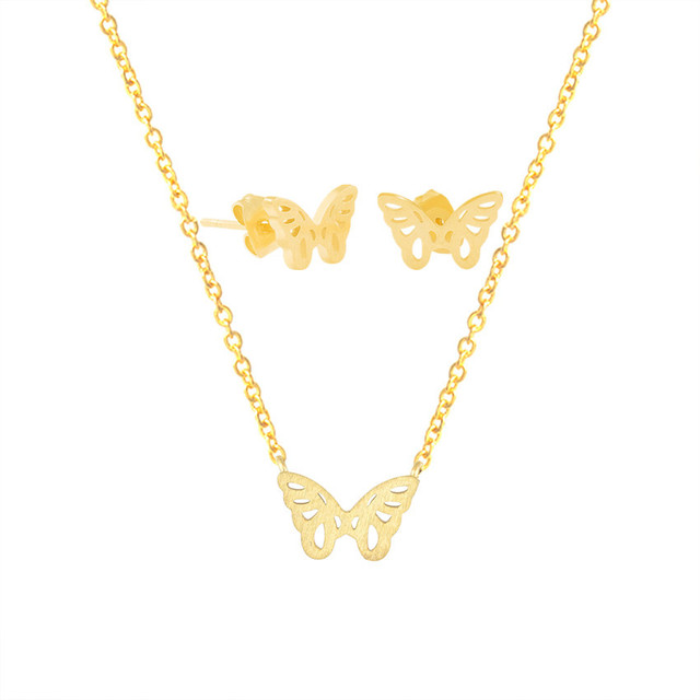 Dainty Lovely Butterfly Pendant Necklace & Stud Earrings For Women Girl Trendy Jewelry Set Gold Silver Stainless Steel Schmuck