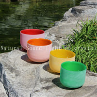 Chakra Tuned Set Of 7 Colored Frosted Quartz Crystal Singing Bowls 8 12