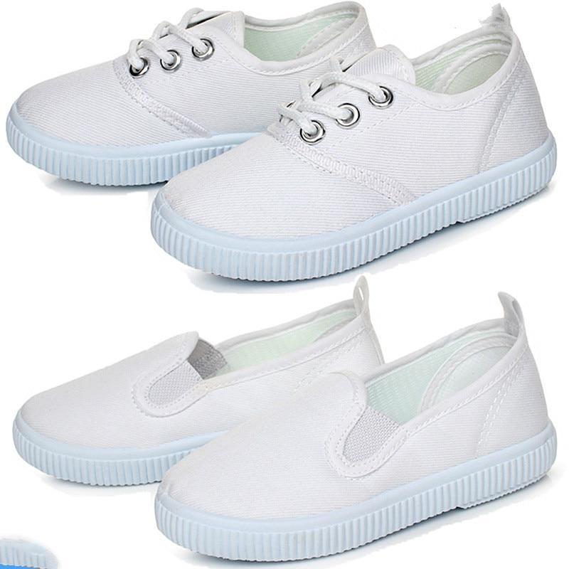 2019 Primavera Niños Deportes Niños Blanco Zapatillas de deporte Niñas Niños Zapatillas de lona blancas Bebé Zapatillas de deporte inferiores suaves Zapatos de niño Niñas