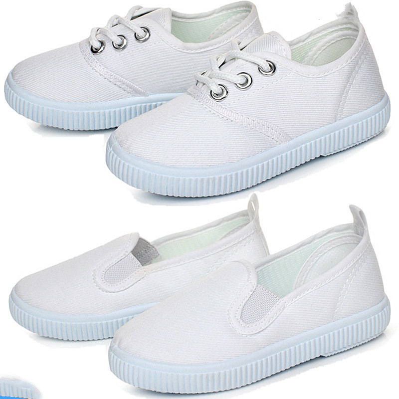 2019 Spring Children Sports Kids White Gym Shoes Girls Boys White Canvas Shoes Baby Soft Bottom Sneakers Boy Shoes Little Girls