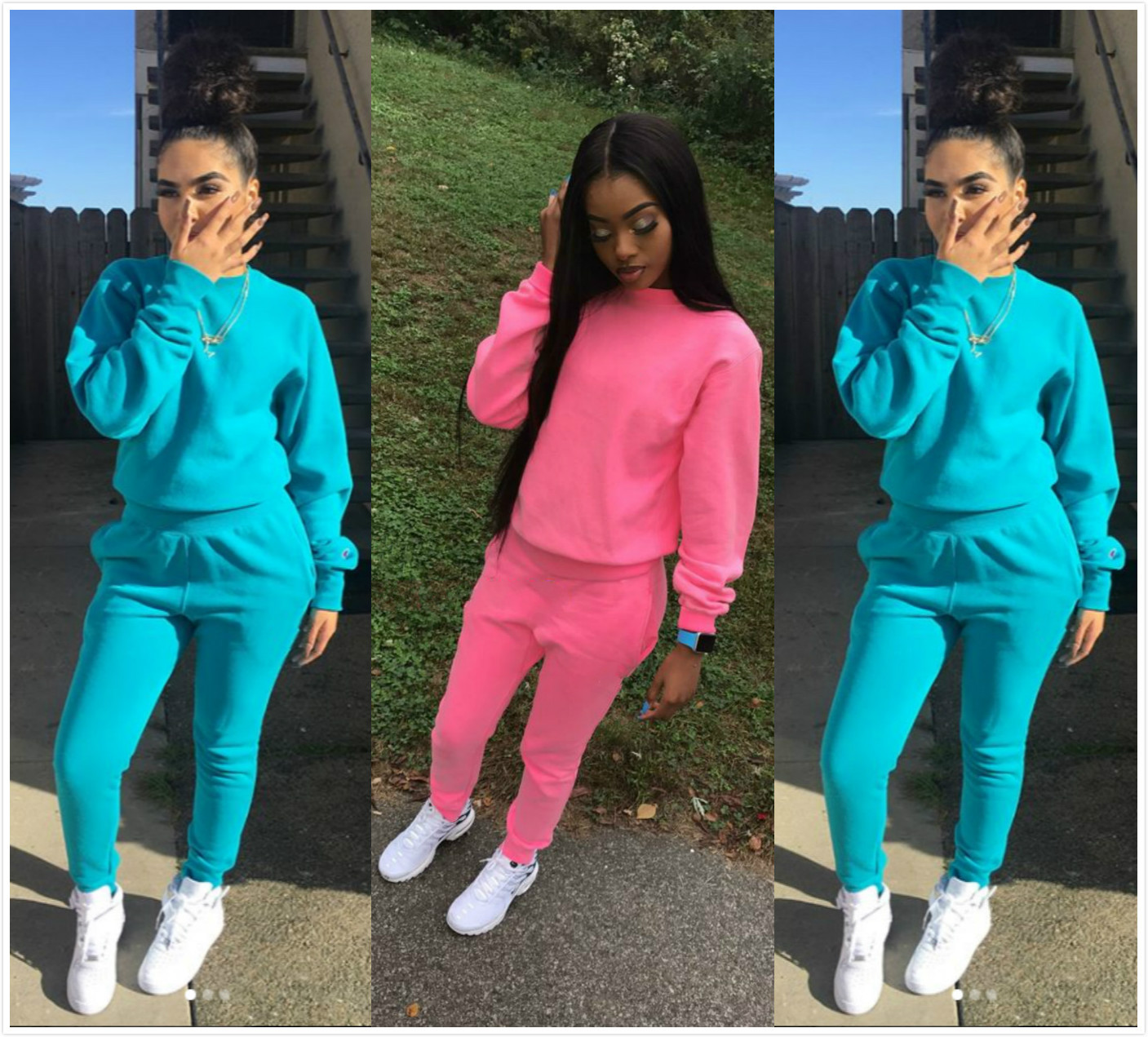 2019 New Autumn And Winter New Fleece Women's Sports And Leisure Suit  Women's Sets   2 Piece Tracksuit
