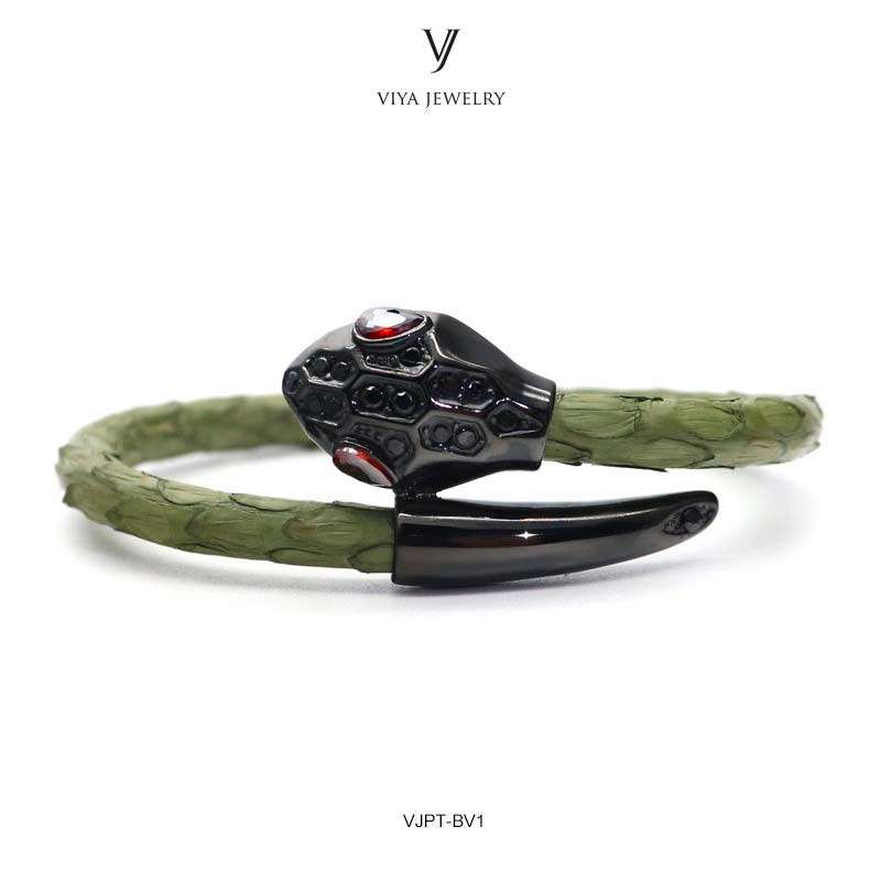 VJPT-BV1---Python leather snake bracelet ,fashion snake head Python leather bracelet,charms snake bracelet women men (27)