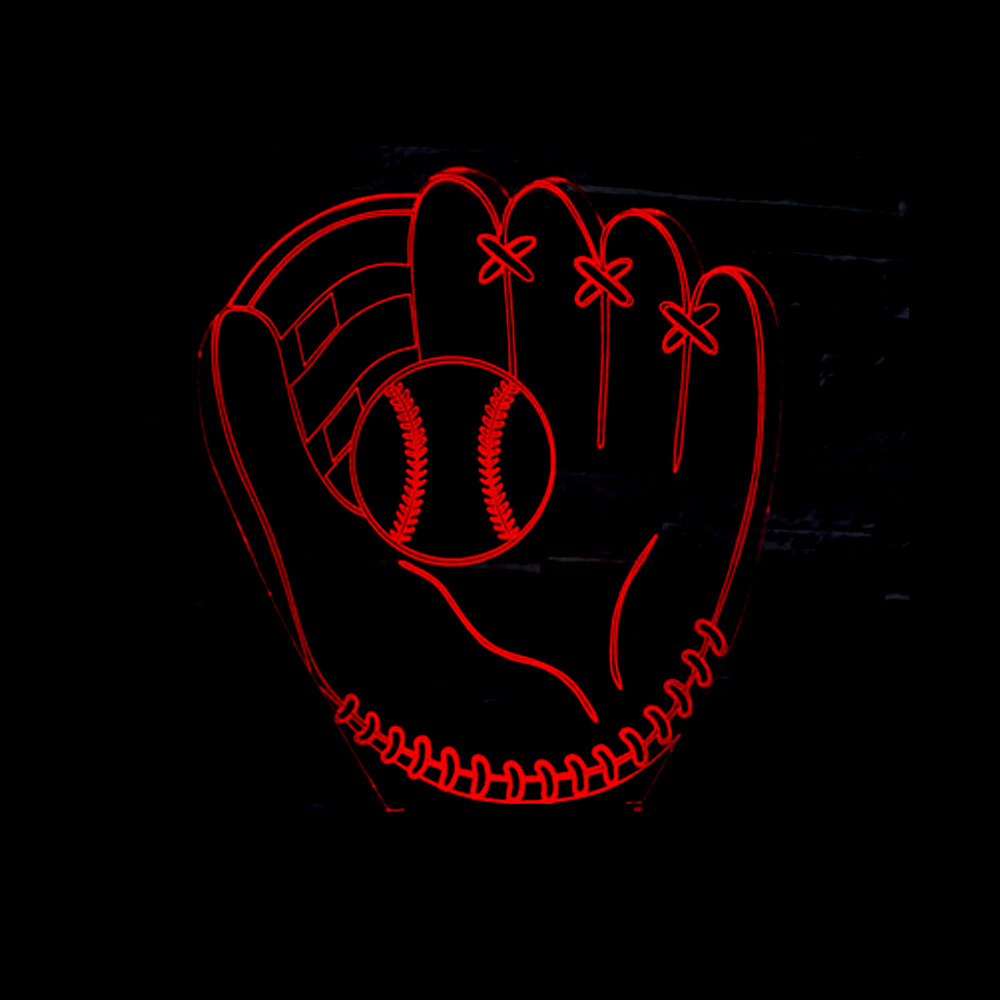 3D Baseball Glove Catcher Pitcher Gloves Illusion Table Lamp left hand softball Colorful LED 3D Night Light for Home Decor