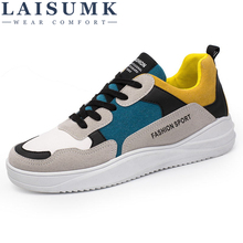 2019 LAISUMK Man Fashion Casual Shoes Mesh+Breathable Leather Soft Spring Autumn Student Youth Trend
