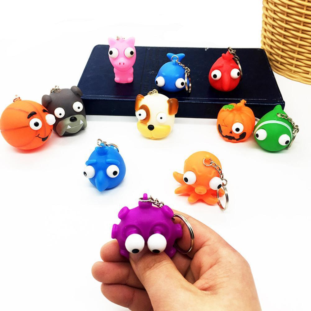 1Pc Soft Squeeze Antistress Toy Out Eyes Doll Novelty Stress Relief Venting Keychain Joking Decompression Squishy Toy