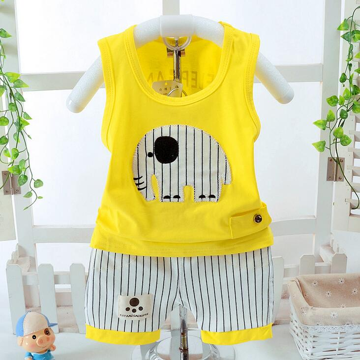 Summer Baby Boy girl Clothing Set Cotton Sleeveless T shirt + Striped Shorts Infant Outfits Clothes Tracksuit For 1 2 3 4 Years 2pcs baby set newborn toddler infant baby boy girl clothes summer sleeveless striped belt t shirt tops headband baby outfits