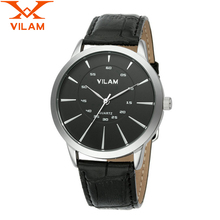 VILAM mens watches top brand luxury 2016 Fashion Watch PU leather strap Quartz Watch male designer Business man Watches v011G 8