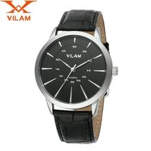 VILAM mens watches top brand luxury 2016 Fashion Watch PU leather strap Quartz Watch male designer Business man Watches v011G 8