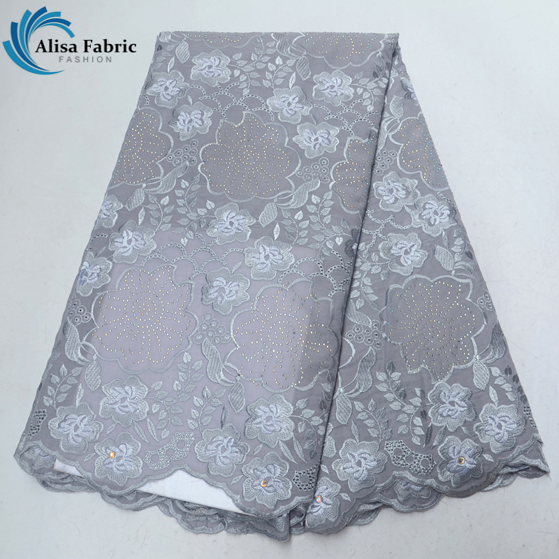Alisa swiss voile lace in switzerland african dry lace with embroidery and stones Swiss lace cotton