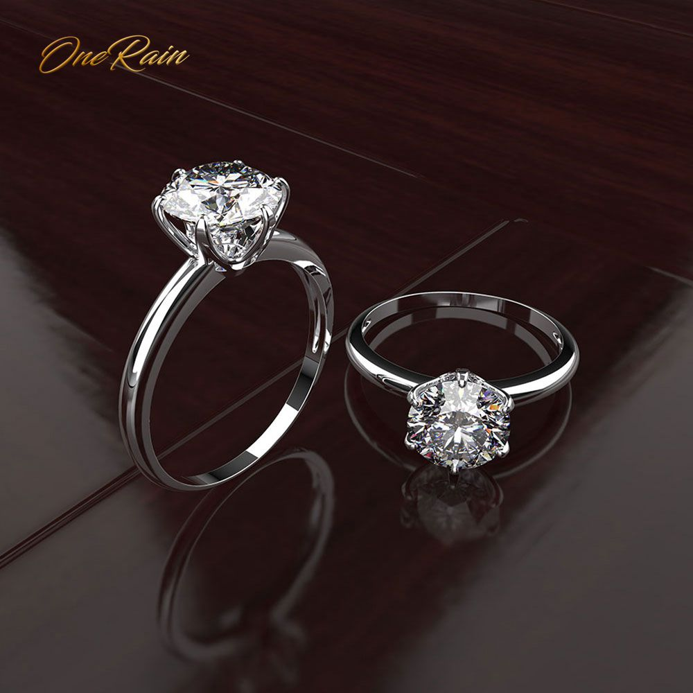 OneRain Classic 100% 925 Sterling Silver White Sapphire Gemstone Wedding Engagement Ring Anniversary Fine Jewelry Gift Wholesale
