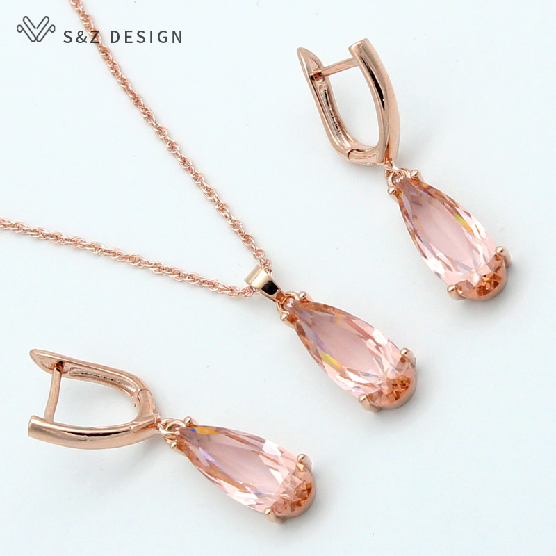 S&Z 6 Color Long Water Drop Dangle Zircon Earrings Jewelry Set 585 Rose Gold Color For Women Korean Fine Wedding Party Jewelry