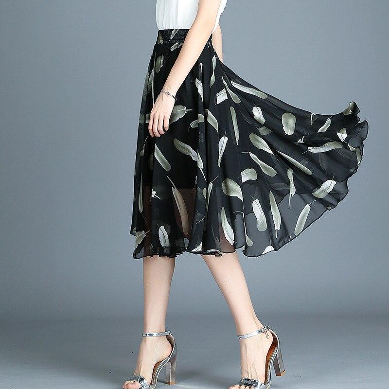 c9c9fd9c3 Dulce nueva moda de verano estampado de gasa falda de línea a para mujer  ropa de trabajo faldas de cintura alta Mujer básica todas las faldas de ...
