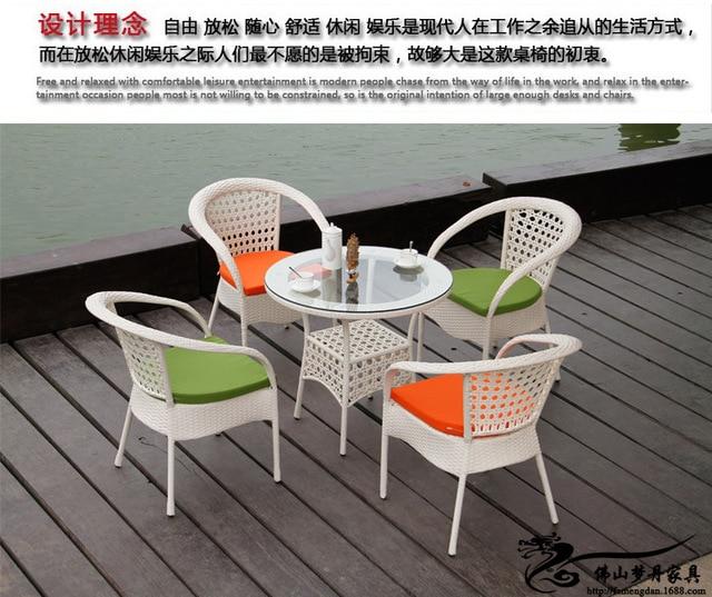 Rotin Mobilier Dexterieur Fixe Pour Jardin Cafe Table Chaises LT03
