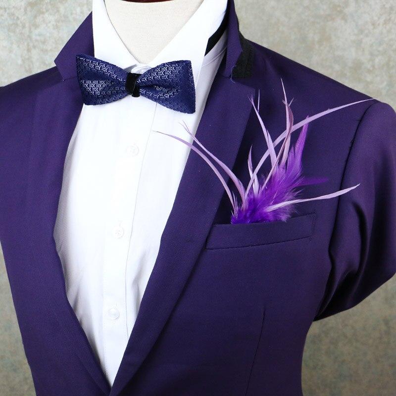 Men Women Luxury Feather Wedding Suit Party Handkerchiefs Groom Pocket Square Handmade Vintage Lapel Pin Brooches Accessories