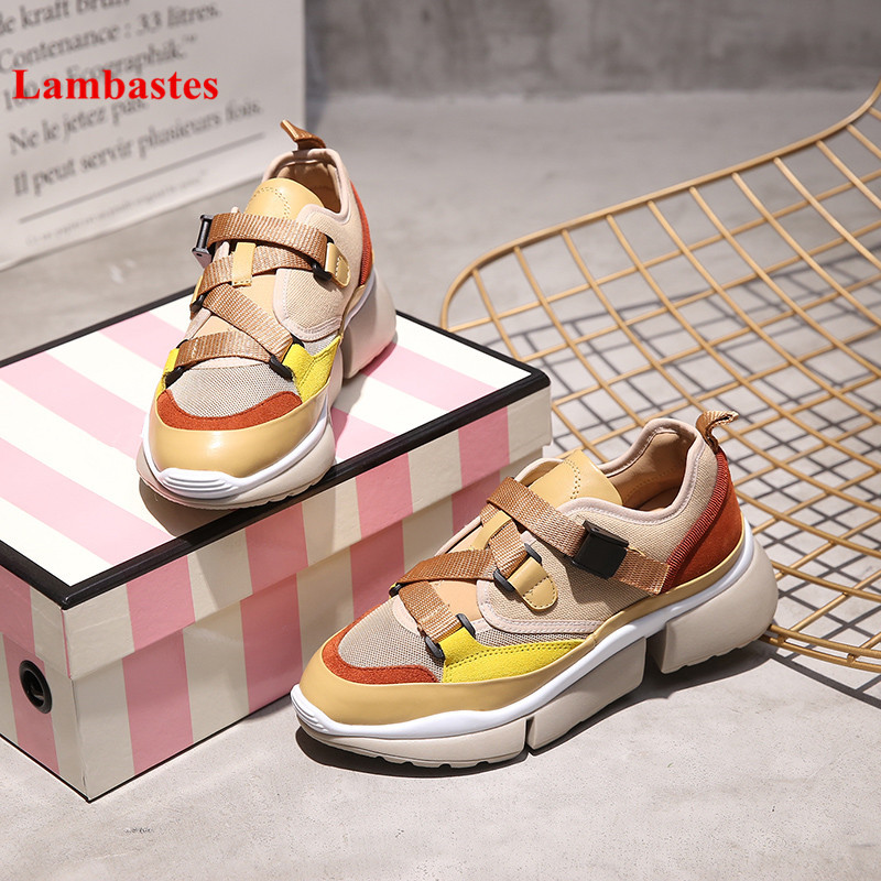 2018 White Sneakers Shoes Women Mixed Color Retro Cross tied Slip On Women Sneakers Platform Cozy Casual Wedges Shoes Feminino