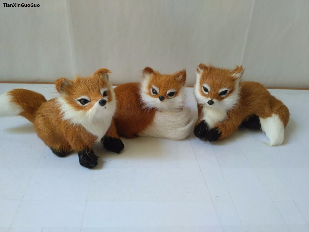 about 9-12cm simulation foxes one lot/ 3 pieces hard model prop polyethylene&furs fox handicraft toy decoration gift s1592