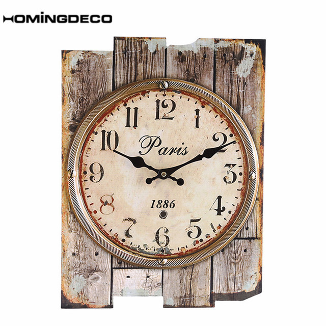 Homingdeco Large Wall Clock Retro Roman Numeral England Style 30*40cm Club Bar Livingroom Mute Hanging Wall Clocks Home Decor