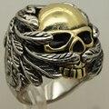 Hombres wave plumas ala 2 tono oro plating skull Biker Anillo de Acero inoxidable