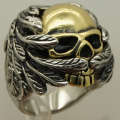 men wave feather wing 2tone gold plating skull stainless Steel Biker Ring