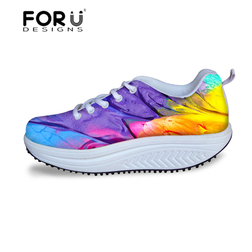 016 Spring Autumn Female Sport Swing Shoes Womens Causal Walking Shoes Fashion Lace-up Wedges Platform Ladies Shoes Breathable