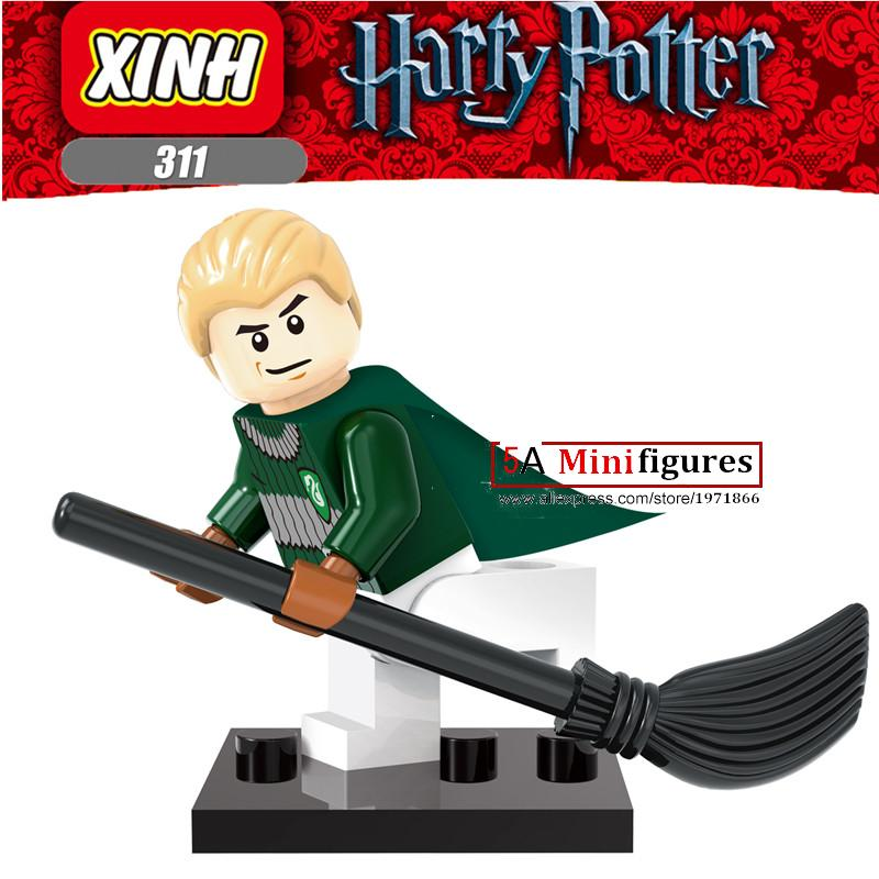 Single Sale  Harry Potter Draco Malfoy with Firebolt  Minifigures units bricks constructing blocks Fashions Child Youngsters Toys