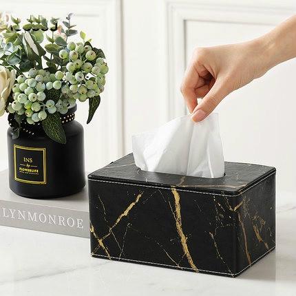 Креативная мраморная кожаная коробка для салфеток, Скандинавская мода, настольная, для гостиной, столовой, бумажная коробка для хранения полотенец, для украшения дома