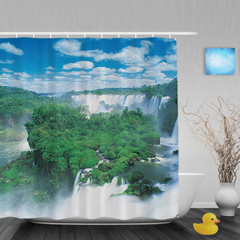 3d printing natural scene shower curtain mountain waterfall bathroom curtain ployster waterproof fabric bathroom shower curtains