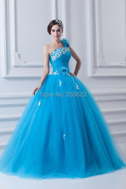 1915c080c64e DAQ1167 Free Shipping One Shoulder Baby Blue Amazing gowns 15 Birthday  Floor length Tulle Formal Quinceanera Dresses