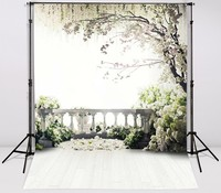 White Green Grass Terrace Flowers Tree Photo Backdrop High Grade Vinyl Cloth Computer Printed Newborns Backgrounds