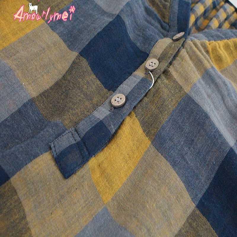 Amourlymei col en v lâche manches chauve-souris coton lin Plaid Blouse Mori fille décontracté femmes chemise haut Blouse