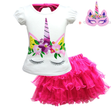 Girls Licorn Tutu Dress Pastel Rainbow Princess Birthday Party T-shirt Dress Set 3-12YChildren Kids Halloween Unicorn Costume 3 10year flower girls fancy nancy tutu dress pastel rainbow princess girls birthday party dress children kids halloween costume