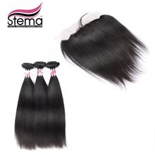 Stema Hair Unprocessed 100% Malaysia Virgin Hair Straight 3pcs Hair Weft With 1pcs Free Shipping Lace Frontal Closure 7A grade