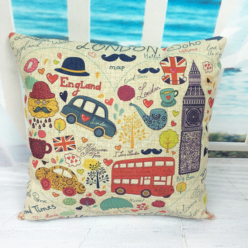 Retro Red bus and Telephone Boxes Car Decorative Throw Pillowcase Pillow cases cartoon bus Cushion Covers Sofa