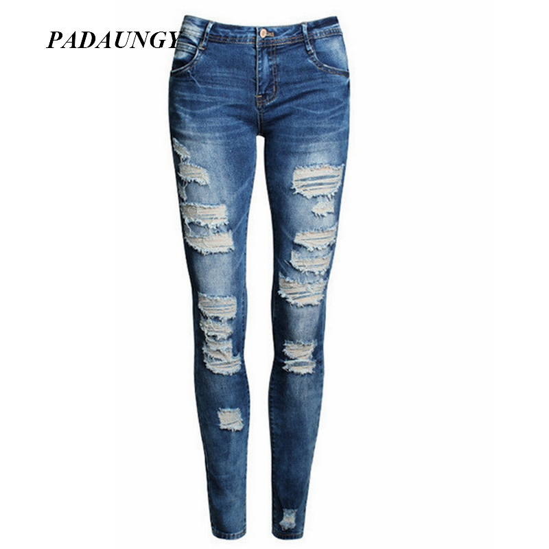 9b3ffee1be PADAUNGY Boyfriend High Waist Jeans Ripped Jean Mujer Plus Size Women Denim  Pants Pantalones Mujer Skinny Jeggings Trousers