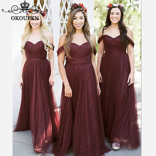 b0176871dcf OKOUFEN Dark Burgundy Tulle Long Bridesmaid Dresses 2018 Off Shoulder  Corset Back A Line Party Maid Of Honor Dress For Women
