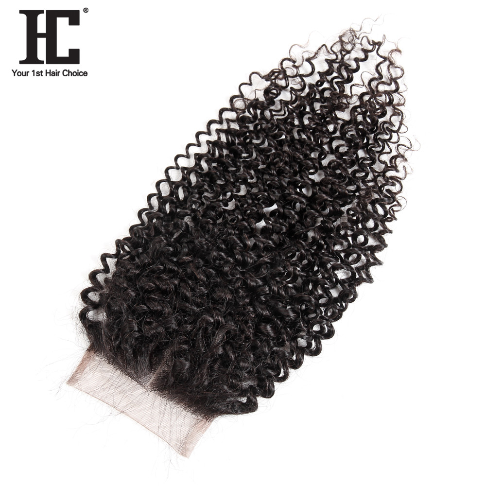 HC Hair Malaysian Kinky Curly Lace Closure Human Hair Pieces 130 Density Closures Middle Part Remy