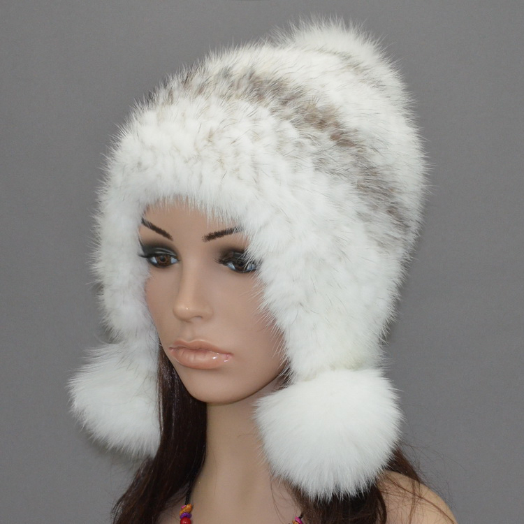 ФОТО fur hats for women eaflap hat with natural mink /fox /raccoon fur autumn Winter warm ear protector cap knitted mink beanie H922
