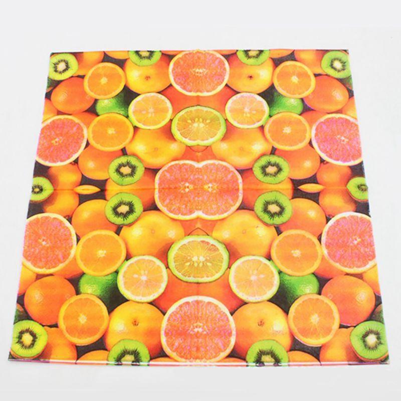 20 шт./лот красочные фрукты печатных Бумага салфетки праздничный вечерние Бумага тарелки ткани одноразовая посуда для прополки ужин