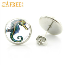 TAFREE 2017 new fashion sea animal art hippocampus earrings for women jewelry marine life charm glass cabochon stud earring E732(China)