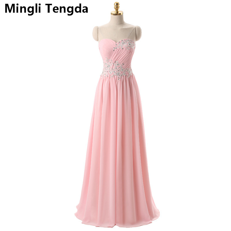 Pink   Bridesmaid     Dresses   Long Appliques   Bridesmaid     Dresses   Pleated Candy Color Fast Delivery Party Min   Dresses   Mingli Tengda