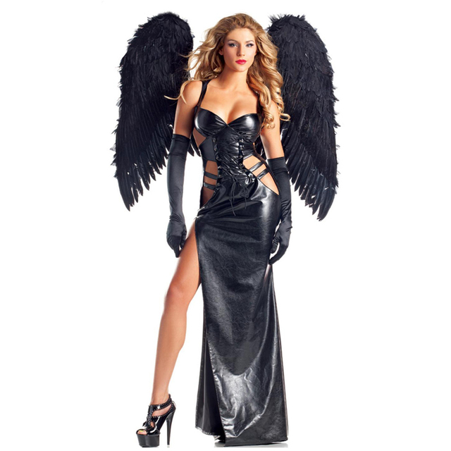 Gothic Goddess Women Dark Angel Vampire Sexy Outfit Costume Halloween  Carnival Vinyl Leather Fancy Dresses Cosplay