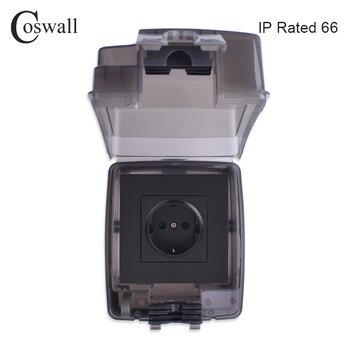 Coswall IP66 Всепогодная Водонепроницаемая наружная коробка интегрированная формовочная коробка с настенной розеткой 16А выход ЕС внешняя устан...