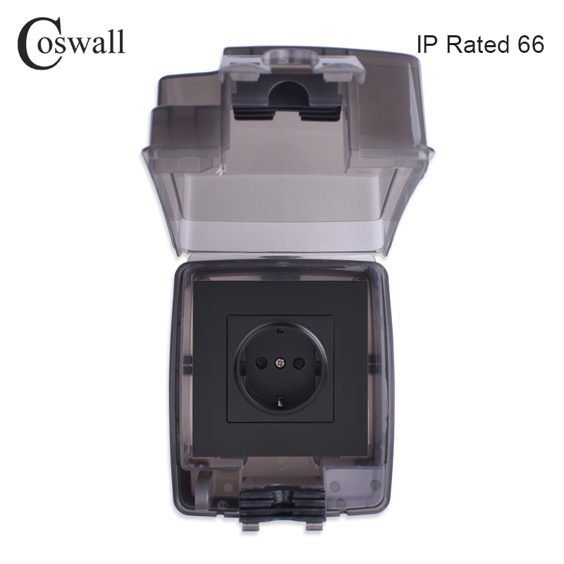 Coswall IP66 Weatherproof Waterproof Outdoor BOX Integrated Molding Box With Wall Socket 16A EU Outlet External Installation