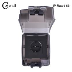 Coswall ip66 caixa de moldagem integrada à prova dweatherágua ao ar livre à prova dweatherágua com tomada parede 16a tomada da ue instalação externa